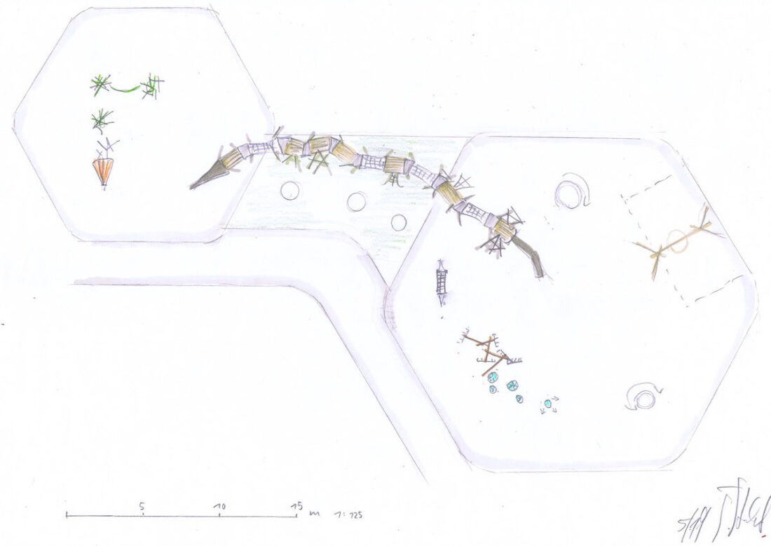 Grabeland Berlin Neukölln, Entwurf Tilman Stachat, Riesenraupe