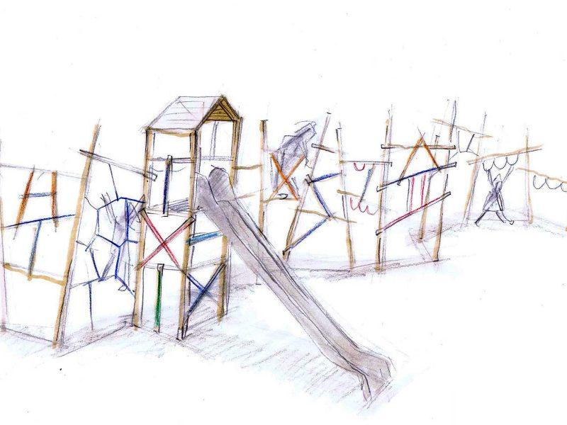Paul Klee, Spielplatz Berlin, Entwurfszeichnung Tilman Stachat