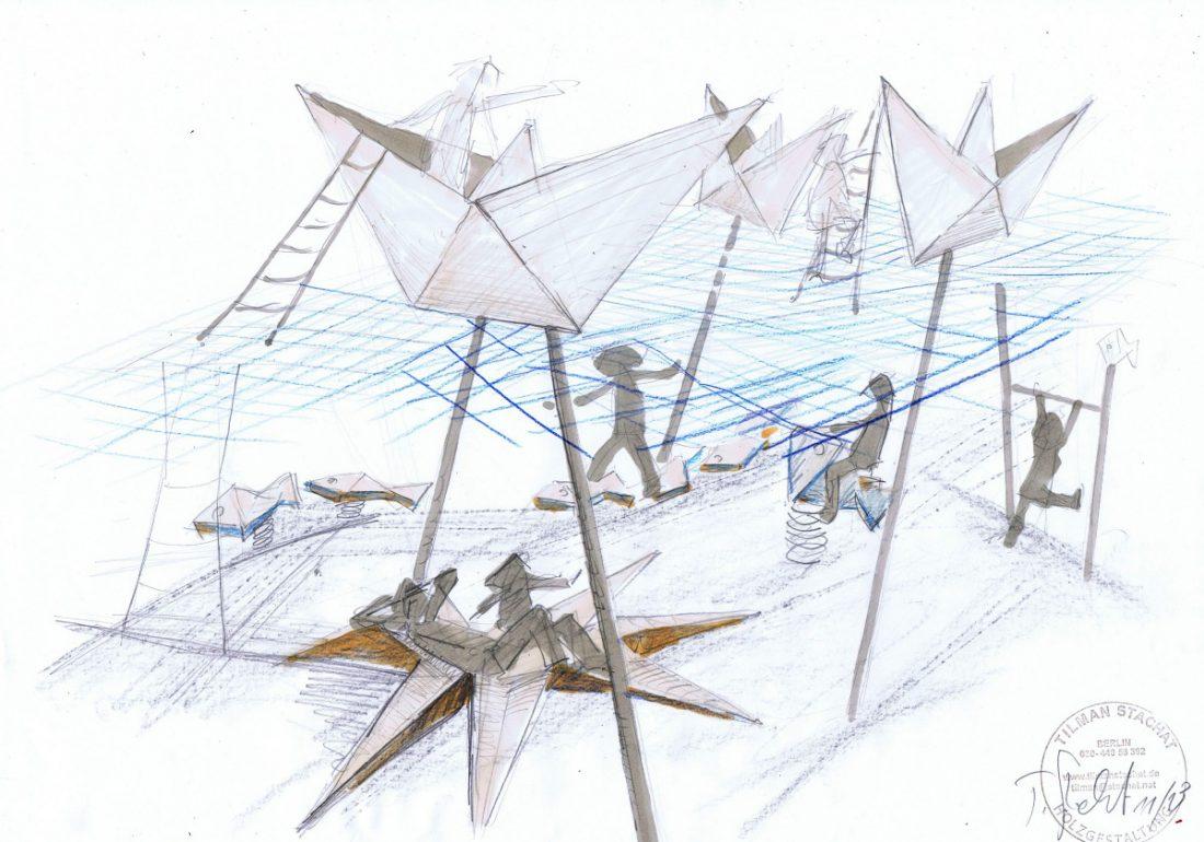 Papierschiffchen, Yachthafen Fehmarn, Entwurf Tilman Stachat