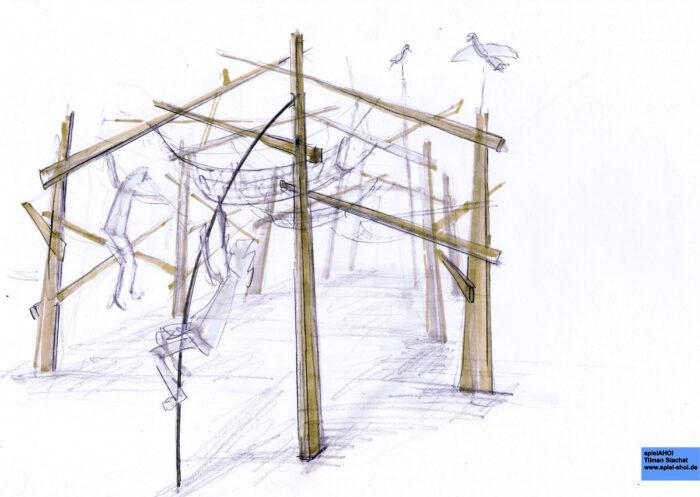Kletterwald in der Parkaue Lichtenberg, Berlin, Entwurf Tilman Stacht